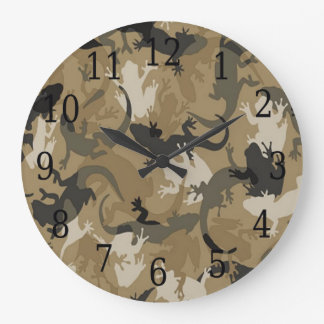 Brown Reptile Camouflage Round Clock