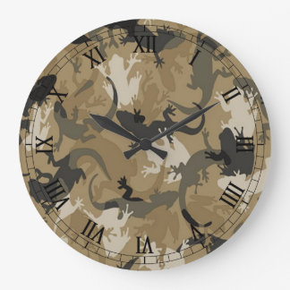 Brown Reptile Camouflage Round Roman Numeral Clock