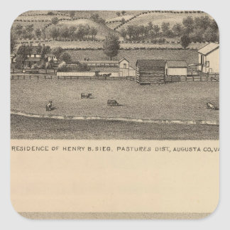 Brown residences, Augusta County Square Sticker