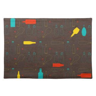 brown retro bottle pattern.jpg cloth placemat