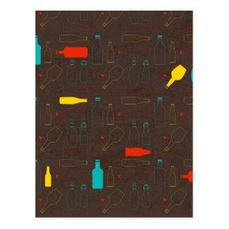 brown retro bottle pattern.jpg postcard