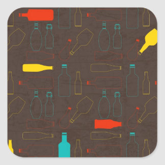 brown retro bottle pattern.jpg square sticker