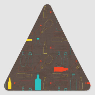 brown retro bottle pattern.jpg triangle sticker