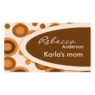 Brown Retro Dots Mommy  Calling Cards Business Card