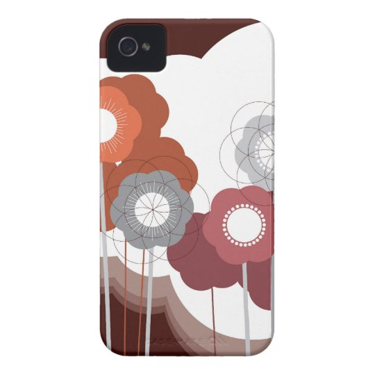 Brown Retro Flowers Abstract Art iPhone 4 CaseMate iPhone 4 Case