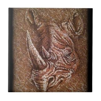 Brown Rhino Drawing Wild Animal Art Ceramic Tile
