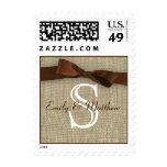 Brown Ribbon and Burlap Monogram Love Stamp