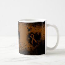 Brown Ribbon Grunge Heart Coffee Mug