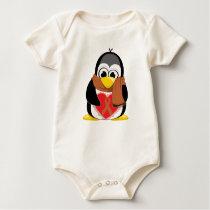 Brown Ribbon Penguin Scarf Baby Bodysuit