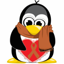 Brown Ribbon Penguin Scarf Cutout