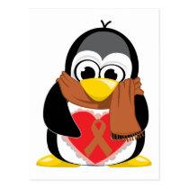 Brown Ribbon Penguin Scarf Postcard