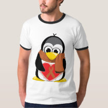 Brown Ribbon Penguin Scarf T-Shirt