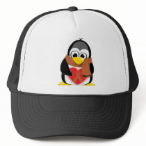 Brown Ribbon Penguin Scarf Trucker Hat