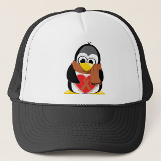 Brown Ribbon Penguin Scarf Trucker Hat