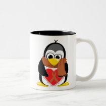 Brown Ribbon Penguin Scarf Two-Tone Coffee Mug