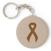 Brown Ribbon Support Awareness Keychain