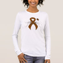 Brown Ribbon with Butterfly Long Sleeve T-Shirt