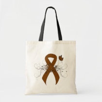Brown Ribbon with Butterfly Tote Bag