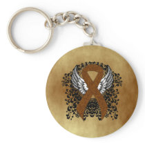 Brown Ribbon with Wings Keychain