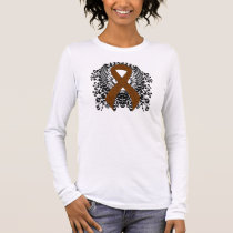 Brown Ribbon with Wings Long Sleeve T-Shirt