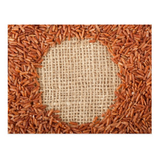 Brown rice on burlap fabric post cards