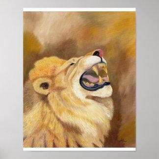 "Brown roaring lion print 11""x14"""