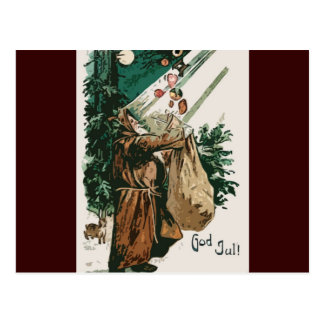Brown Robe Santa Claus Christmas Post Cards