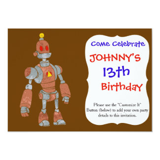 brown robot with lamp head card