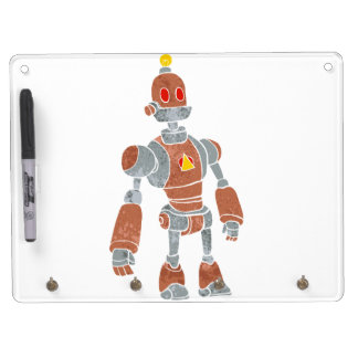brown robot with lamp head dry erase board with keychain holder