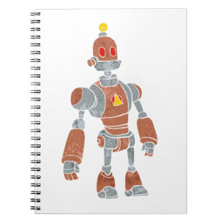 brown robot with lamp head notebook