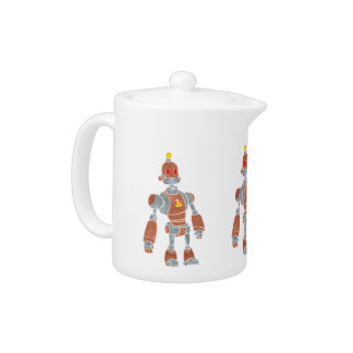 brown robot with lamp head teapot