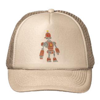 brown robot with lamp head trucker hat