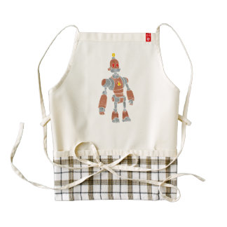 brown robot with lamp head zazzle HEART apron