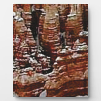 brown rock erosion towers plaque