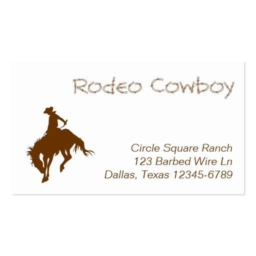 Brown Rodeo Cowboy Business Card Templates