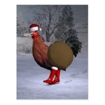 Brown Rooster Santa Claus Postcard
