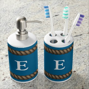 Beach Themed Brown Rope Monogram Bathroom Set
