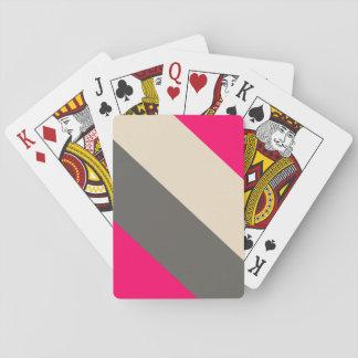 Brown, rosa y crema rayados barajas de cartas