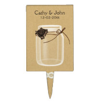 brown rose mason jar personalized cake picks
