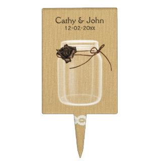 brown rose mason jar personalized cake picks