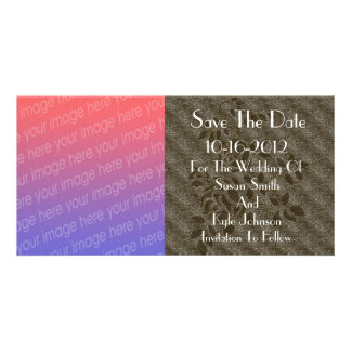 Brown Rose Stencil Photo Wedding Save The Date Card
