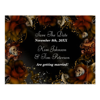 Brown Roses + Skulls Gothic Wedding Postcard
