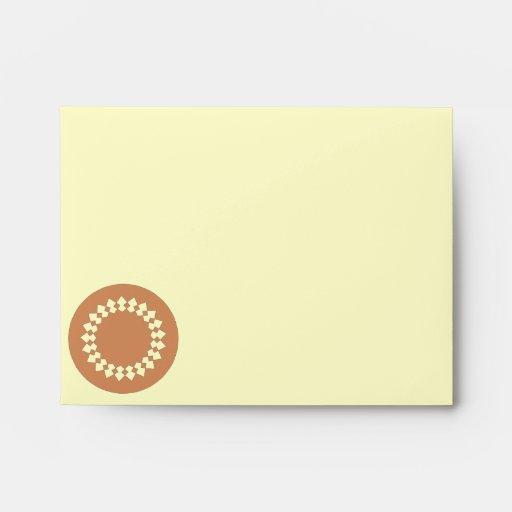 Brown Round Wheel Pattern Graphic Design. Envelope
