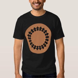 Brown Round Wheel Pattern Graphic Design. Tee Shirt