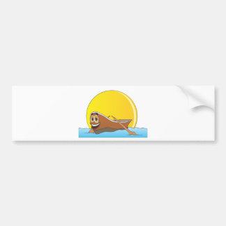 Brown Row Boat Cartoon Bumper Sticker