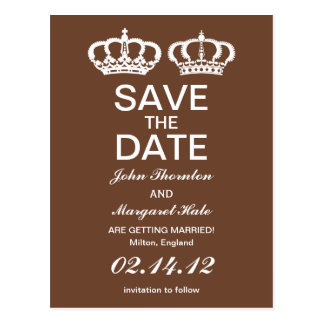 Brown Royal Couple Save the Date Postcard