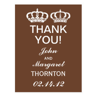 Brown Royal Couple Thank You Postcard