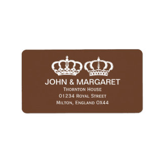 Brown Royal Couple Wedding Personalized Address Label