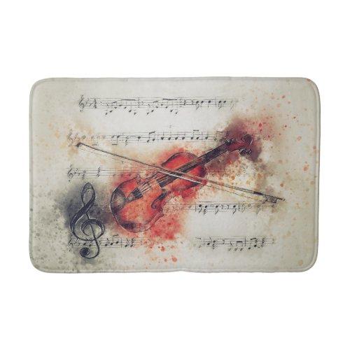 Brown Rust Cream Watercolor Violin Sheet Music Bath Mat