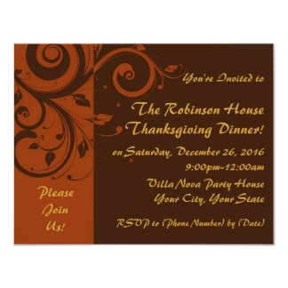 Brown,Rust Reverse Swirl Holiday Party Invitations